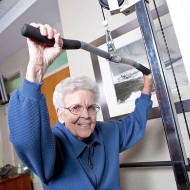 Senior doing exercises