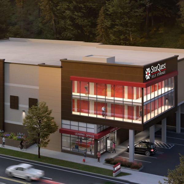 Exterior and indoor storage units at StorQuest Self Storage in Seattle, Washington