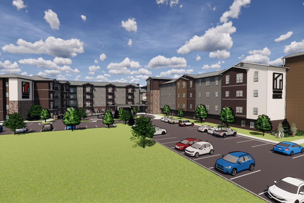 Rendering of main entrance and apartments at Turners Rock in Springfield, Missouri.