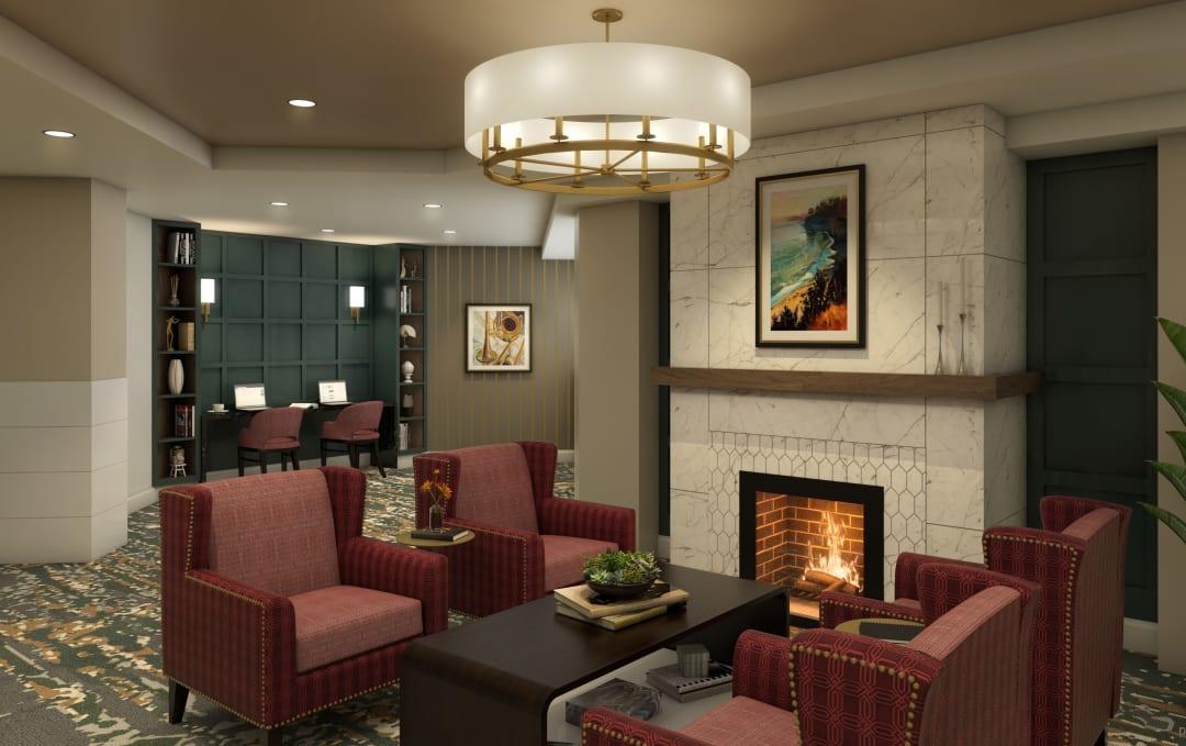 Cozy Fireplace at Anthology of Farmington Hills in Farmington Hills, Michigan