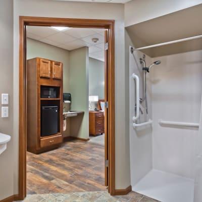 Resident bathroom at Aurora on France in Edina, Minnesota.