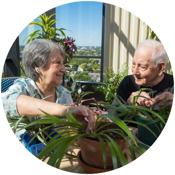 Ebenezer Tower Apartments residents gardening