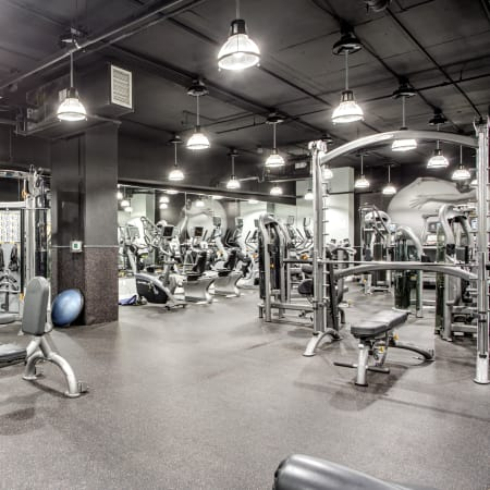 View of our gorgeous fitness center at 55 West Apartments