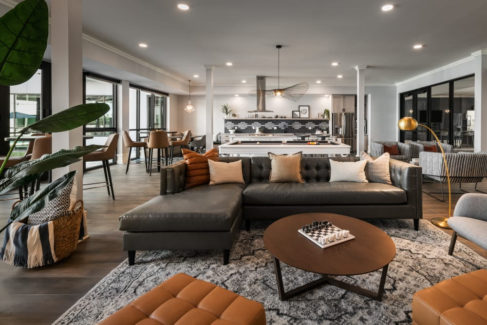 Contemporary decor in resident clubhouse at The Astor at Osborn in Phoenix, Arizona
