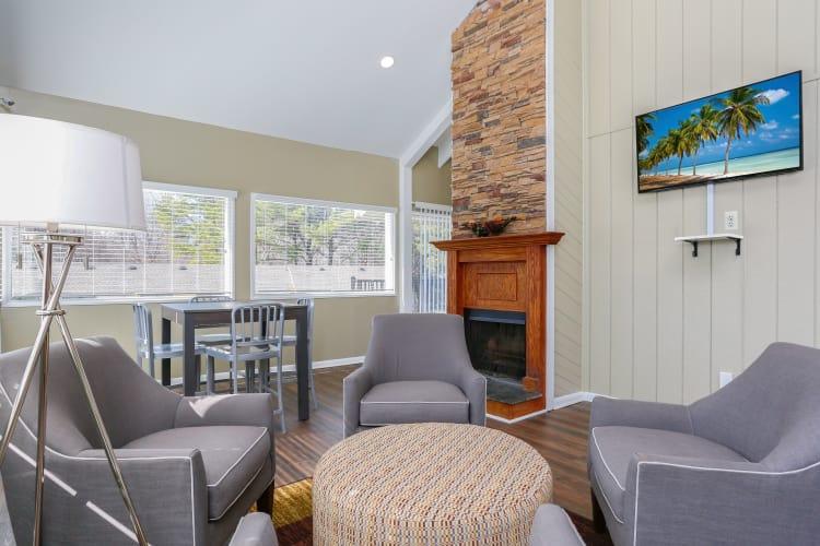 Living room at The Flats at Arrowood in Charlotte, North Carolina