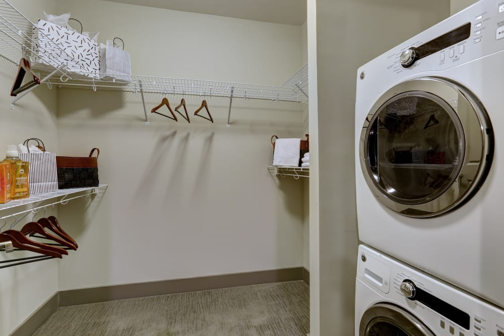 Model laundry room at The Sawyer at One Bellevue Place in Nashville, Tennessee