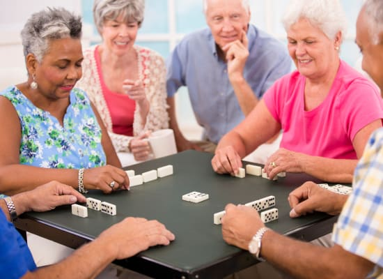 Residents enjoying a game at Westminster Memory Care in Lexington, South Carolina
