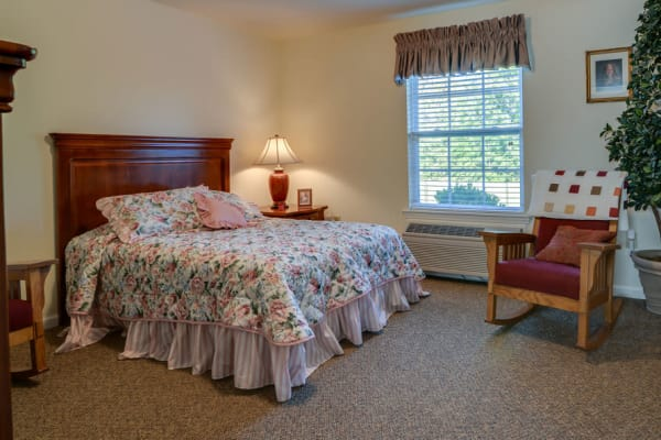 Assisted living apartment bedroom at Springfield Heights in Springfield, Tennessee