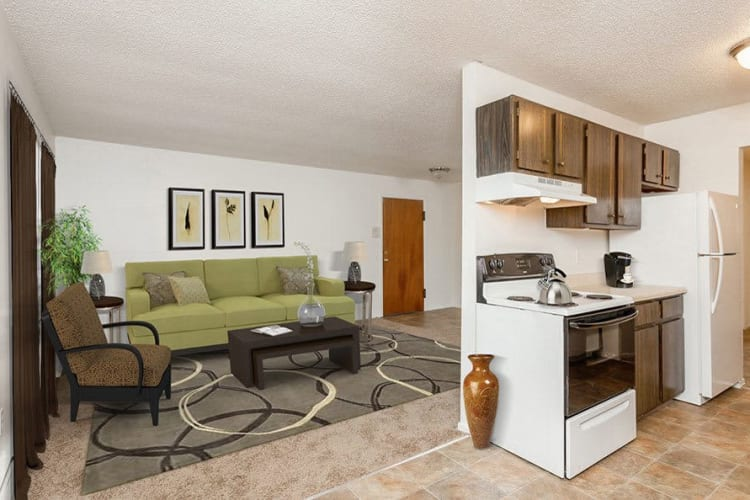 Living room and kitchen at Parkway Manor Apartments