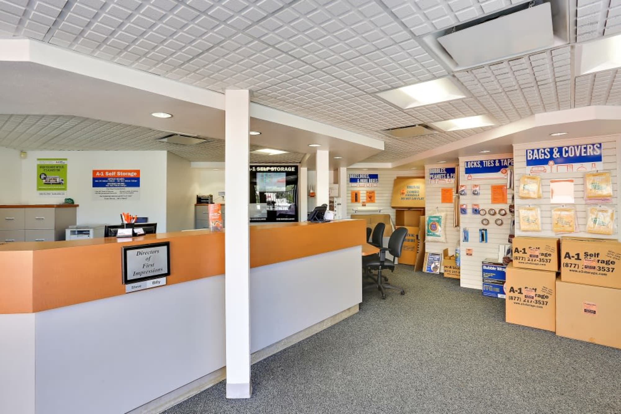 The front office of A-1 Self Storage in Oceanside, California