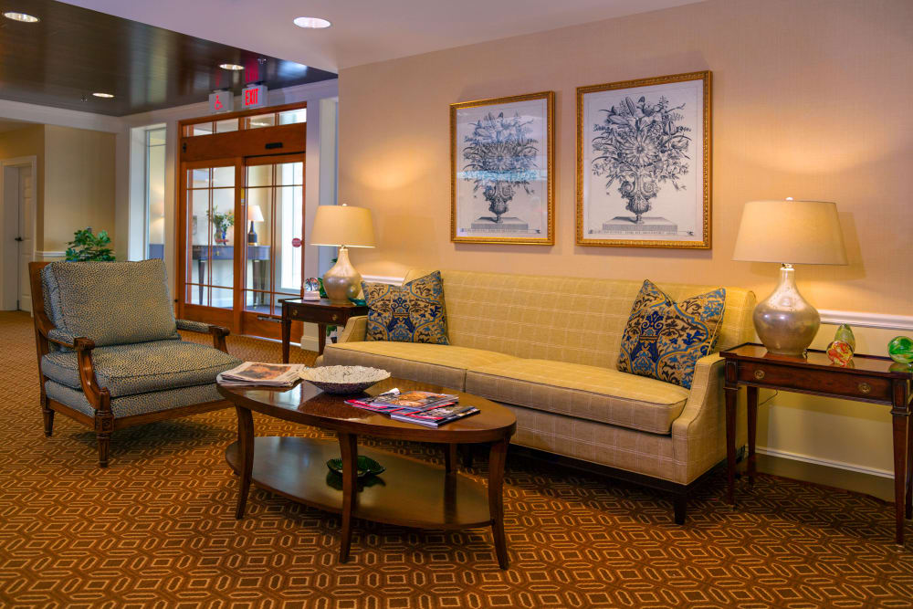 Couch and coffee table at Maplewood at Darien in Darien, Connecticut