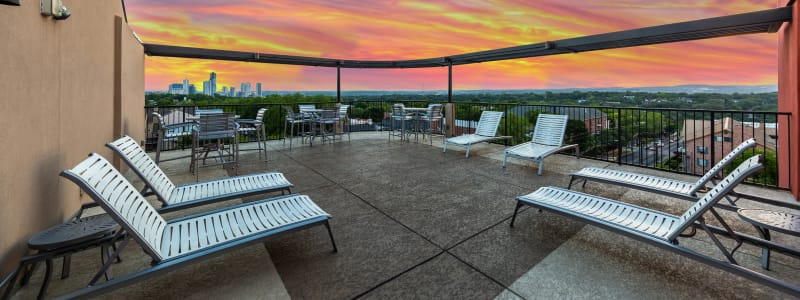 Regents West at 24th's rooftop lounge at sunset in Austin, Texas