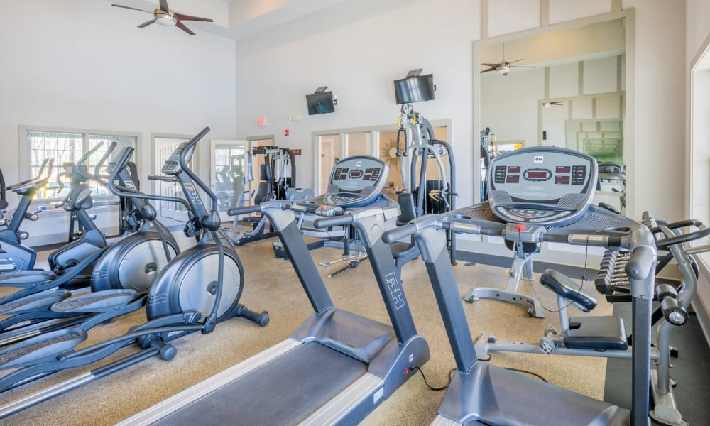 Well equipped fitness center at Arbor Village in Summerville, South Carolina