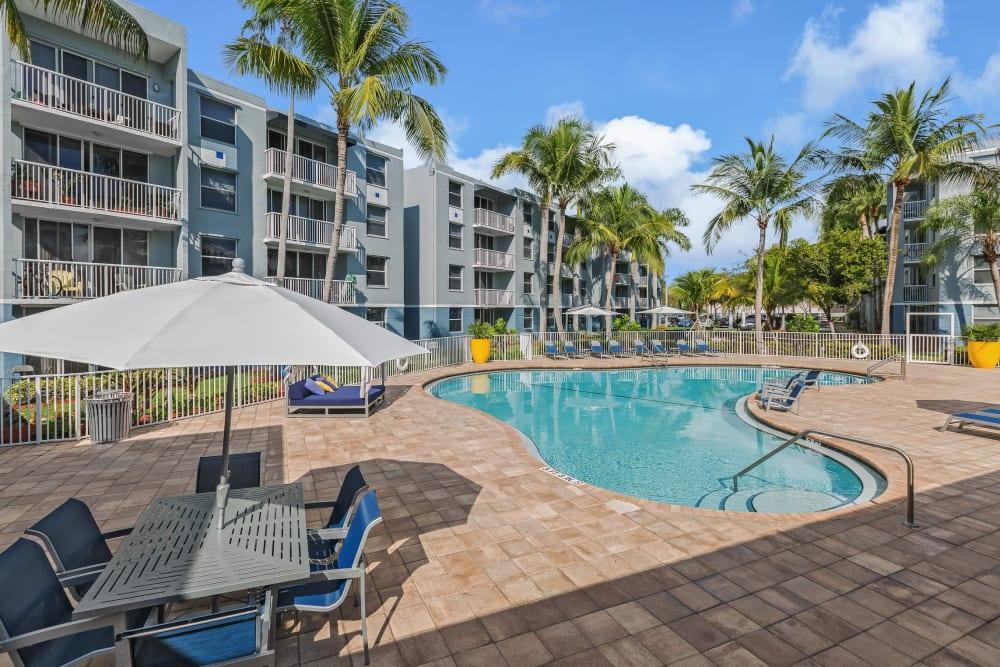 Poolside view at Beach Walk at Sheridan in Dania Beach, Florida