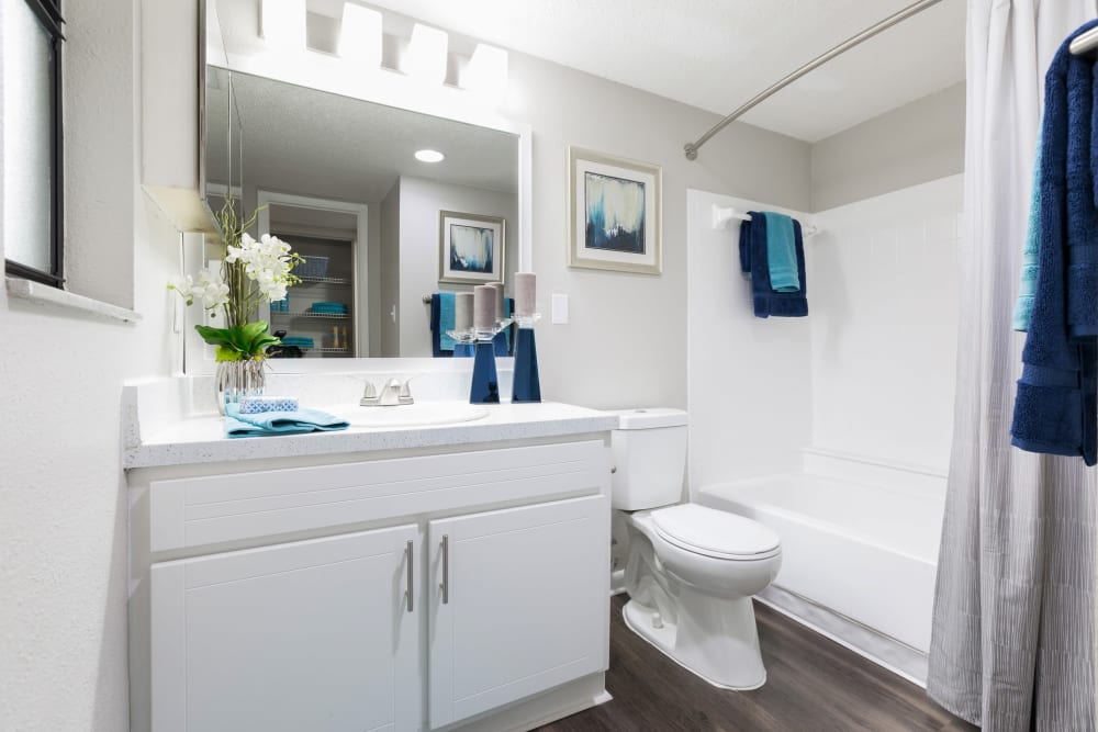 Model bathroom with large vanity mirror and oval tub at WestEnd At 76Ten in Tampa, Florida