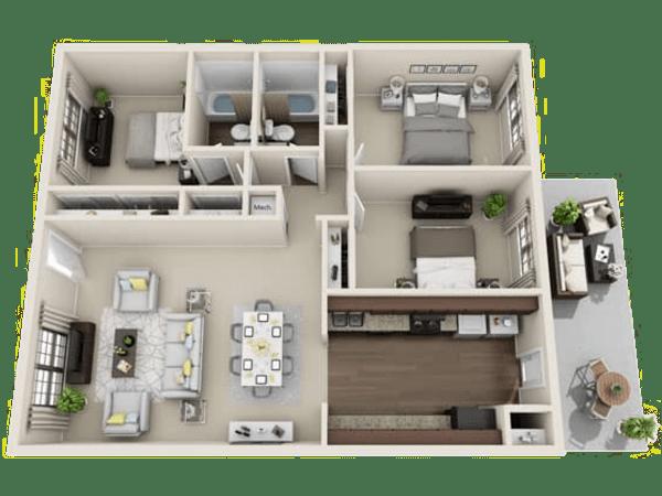 Kent floor plan at Villages at Parktown Apartments