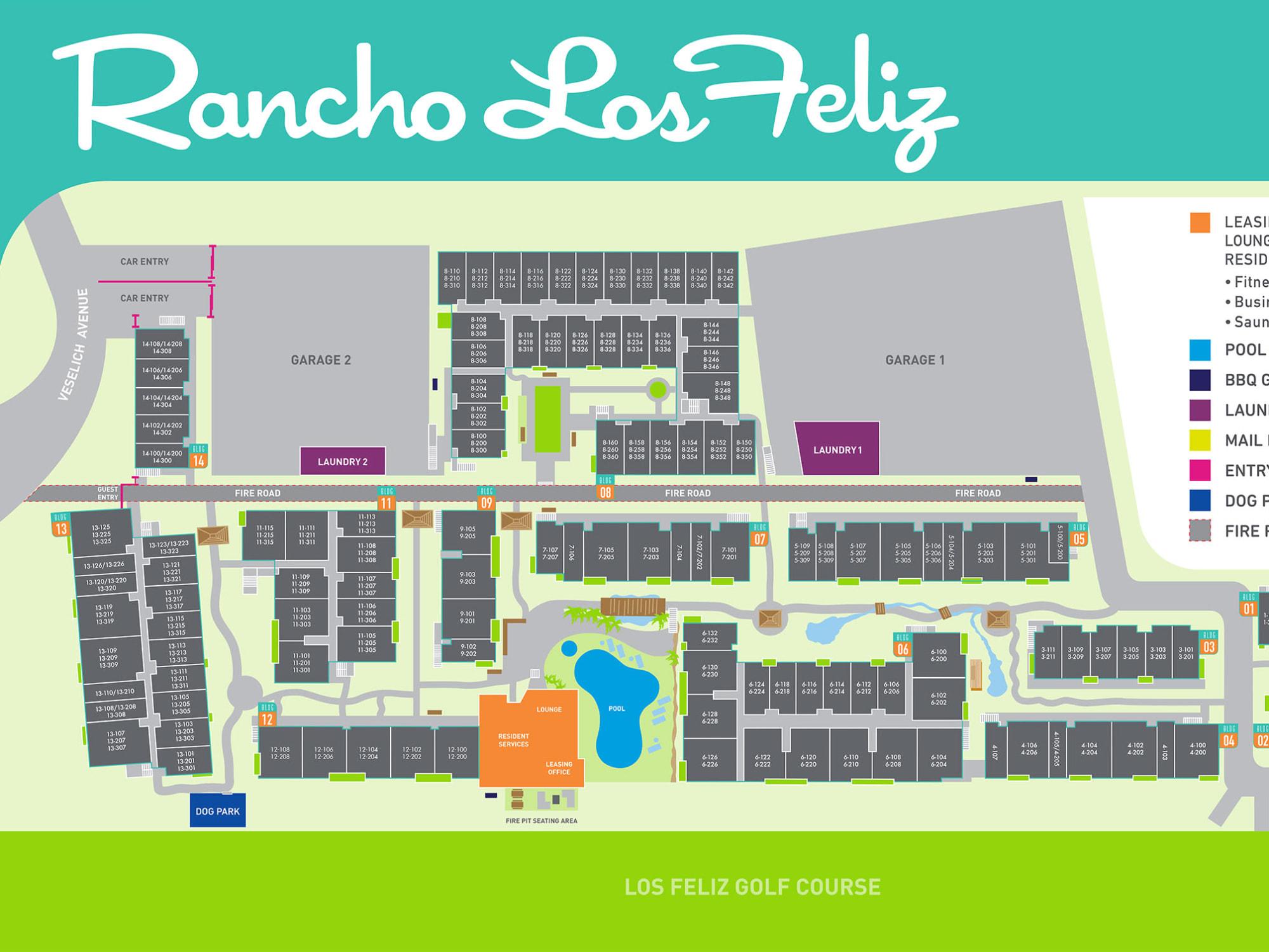 Site plan for Rancho Los Feliz in Los Angeles, California