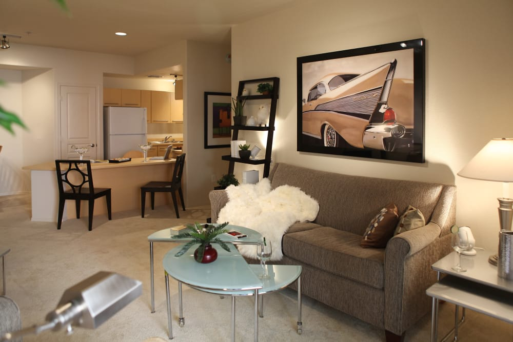 Bright living room at Sage Luxury Apartment Homes in Phoenix, Arizona