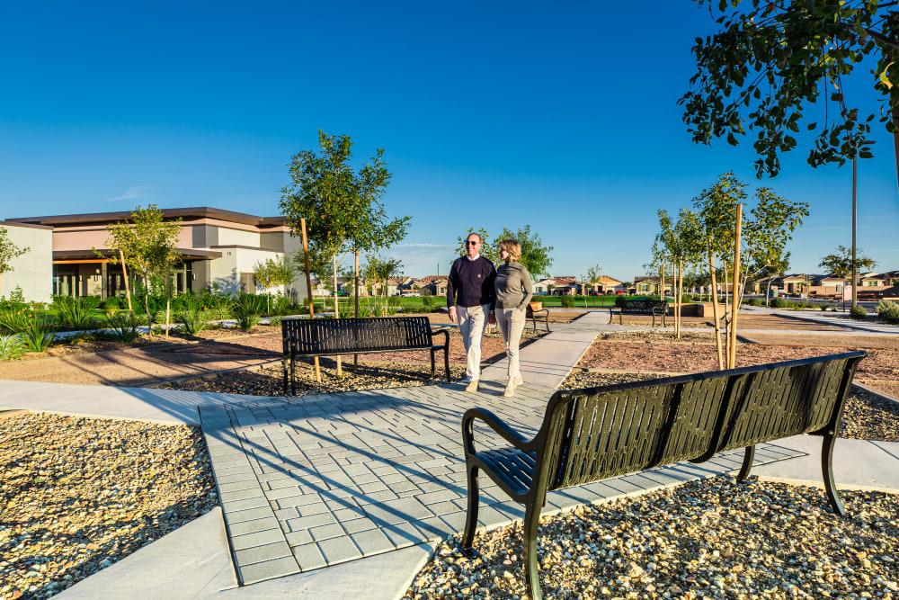 Botanica Peaceful Garden Area, a Master-Plan Community Amenity at Tavalo at Cadence in Mesa, Arizona