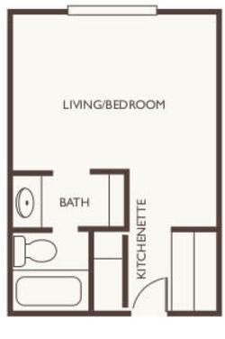 Assisted Living Studio at Huntington Terrace in Huntington Beach, California