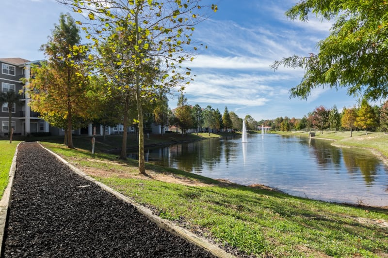 Waterside walkways at The Aspect in Kissimmee, Florida