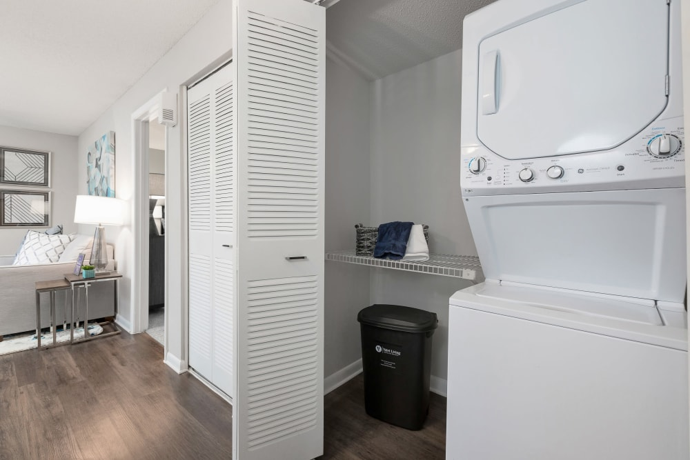 In-unit washer and dryer in a model home at WestEnd At 76Ten in Tampa, Florida