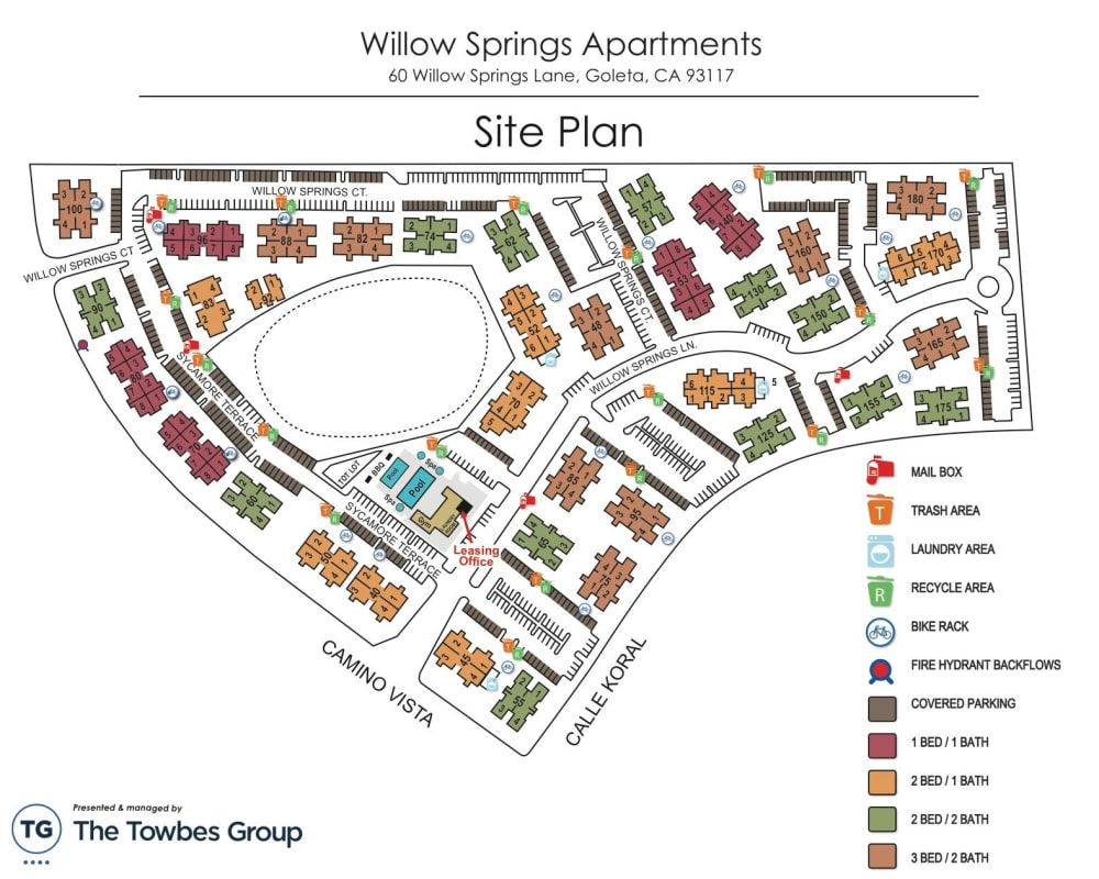 Property map of Willow Springs Apartments in Goleta