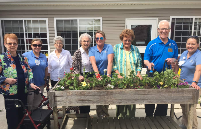 Residents and caretakers gardening at Scenic Hills at the Monastery in Ferdinand, Indiana.