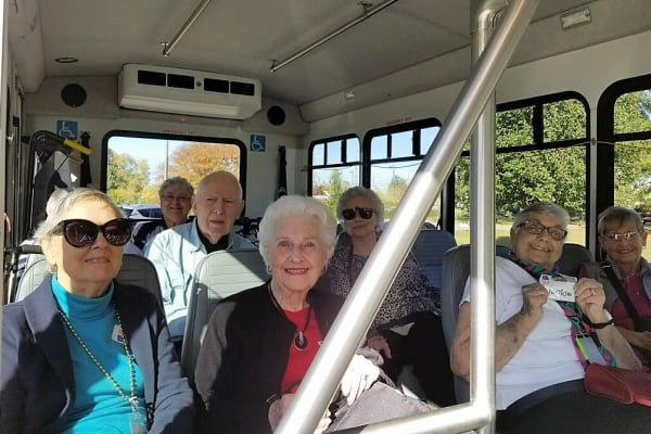 Residents going to an event near Merrill Gardens at Madison in Madison, Alabama.