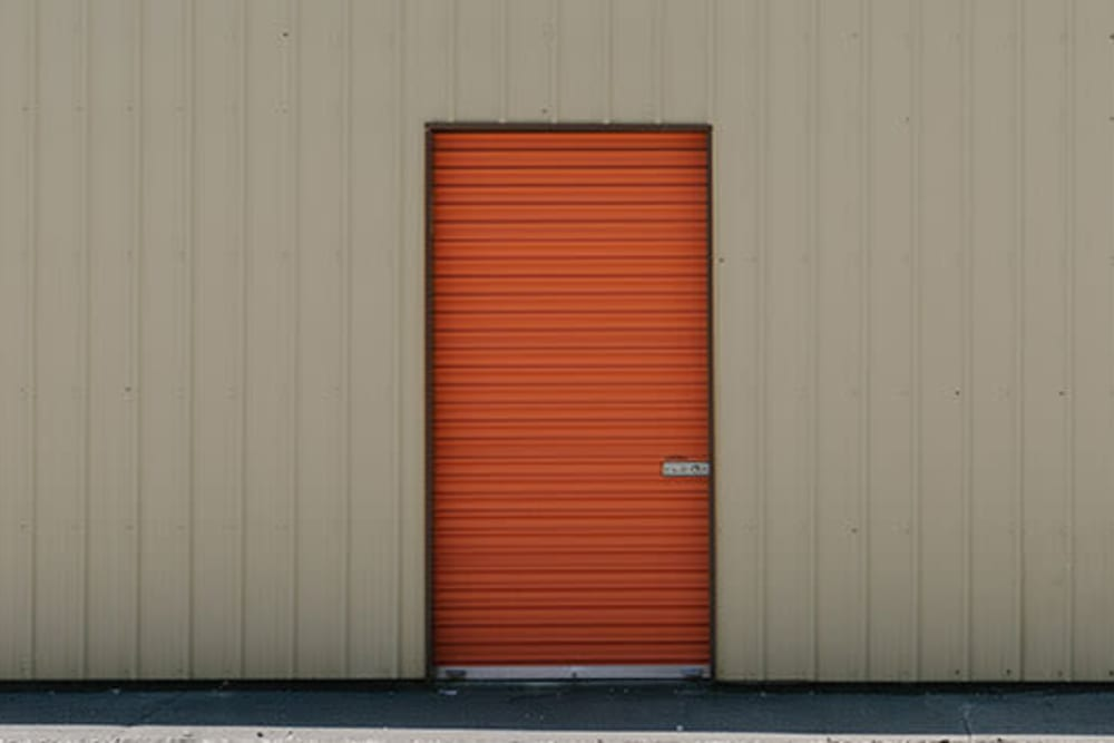 A small orange unit door at StayLock Storage in Wheatfield, Indiana