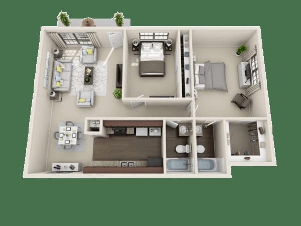 Delmarvel floor plan at Villages at Parktown Apartments