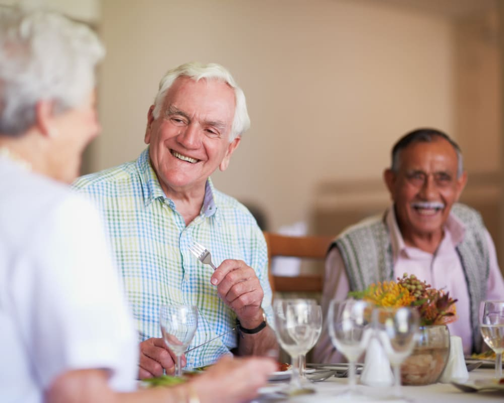 Residents enjoy restaurant quality dining at Arbor View in Burlington, Wisconsin.