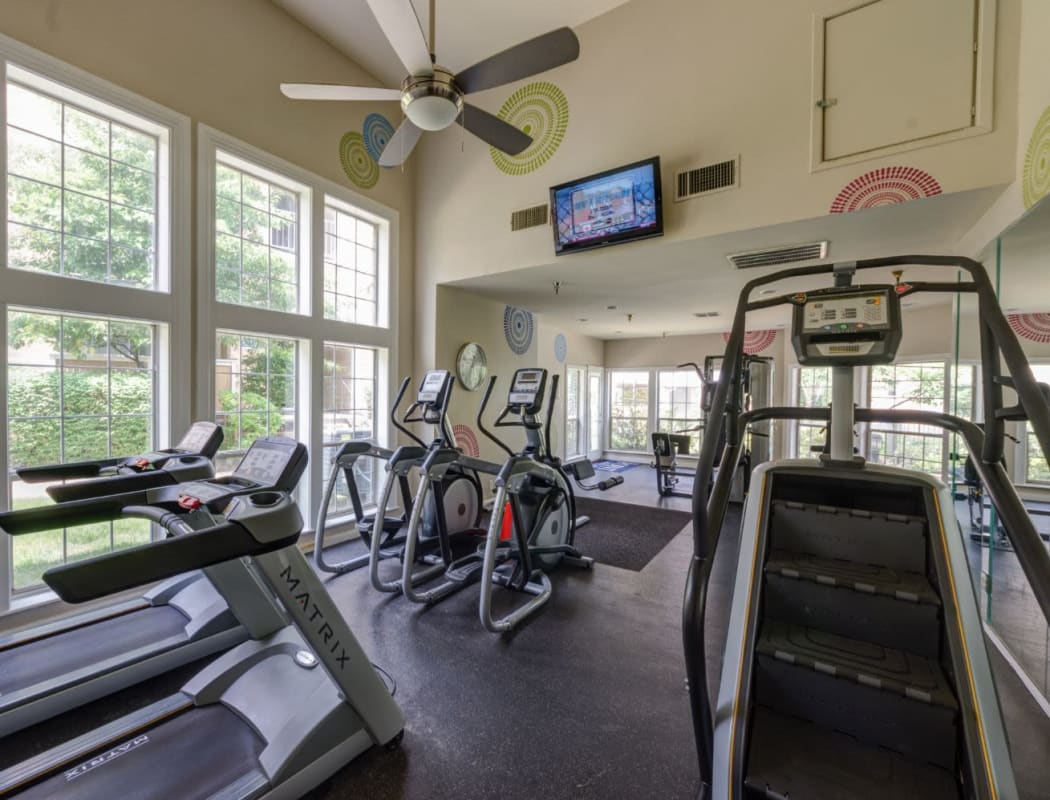 The Views at Laurel Lakes's fitness center in Laurel, Maryland
