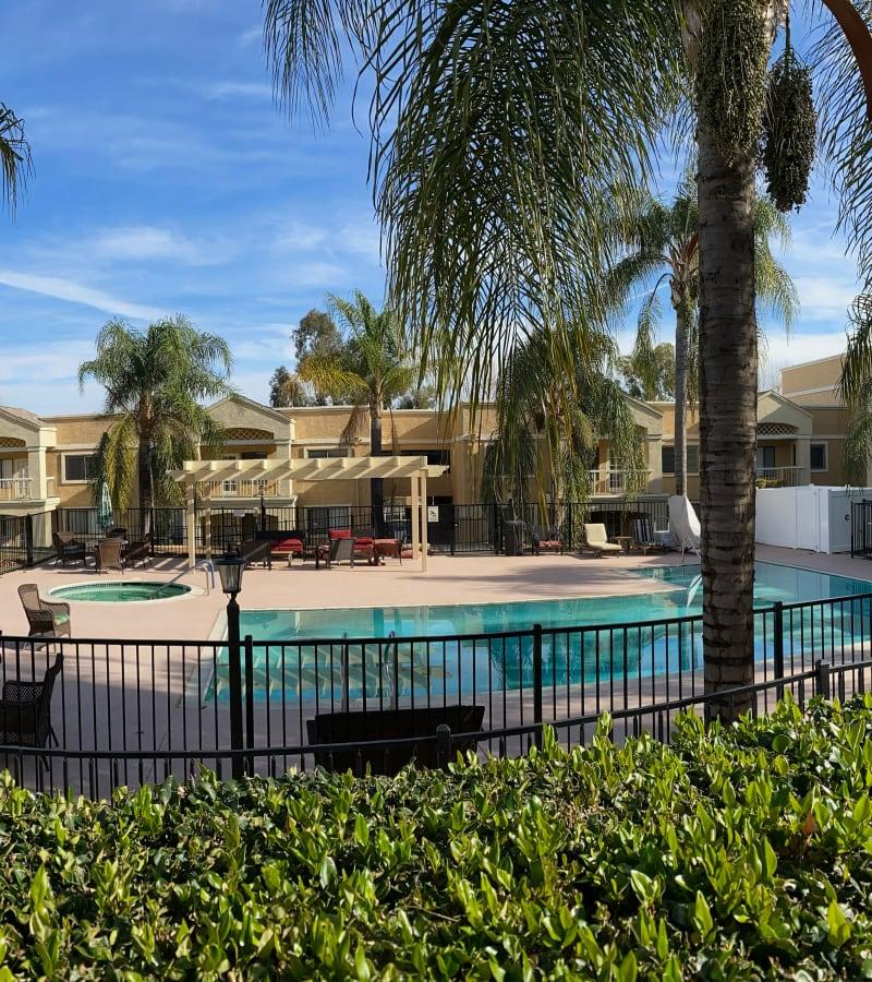 The resident pool at Pacifica Senior Living Menifee in Sun City, California.