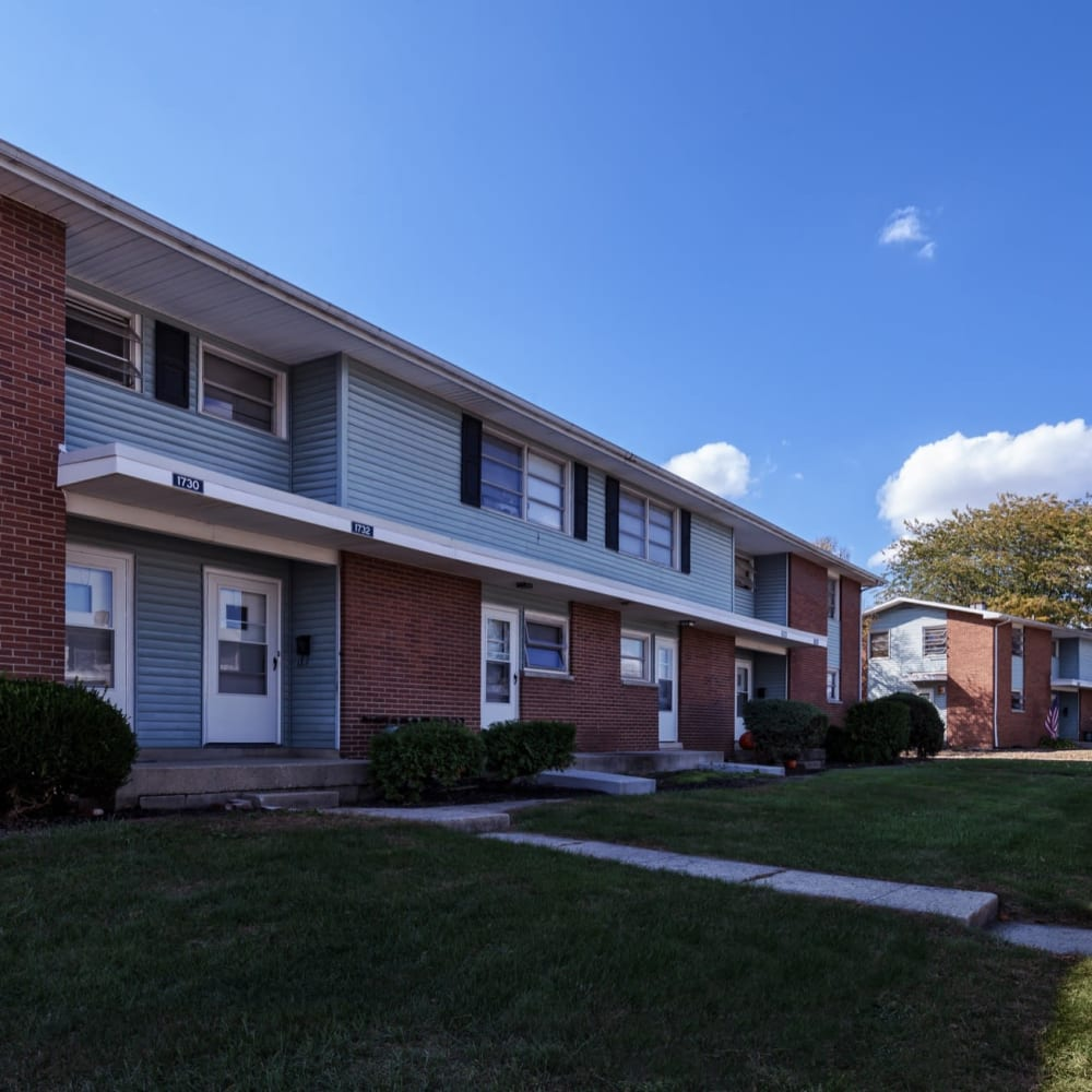 Exterior of homes at Steeplechase Village in Columbus, Ohio