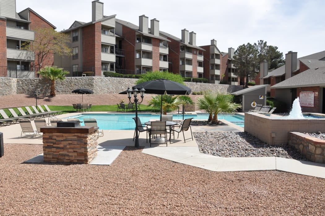 The community pool at High Ridge Apartments in El Paso, Texas