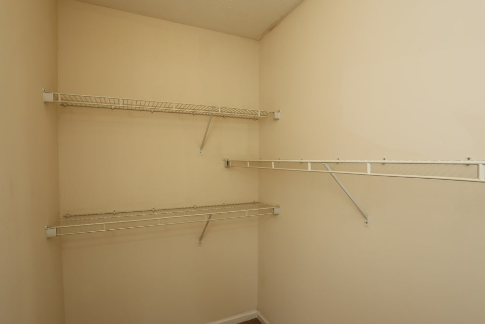 A walk-in closet at Ashton Park Apartments in Gulfport, Mississippi