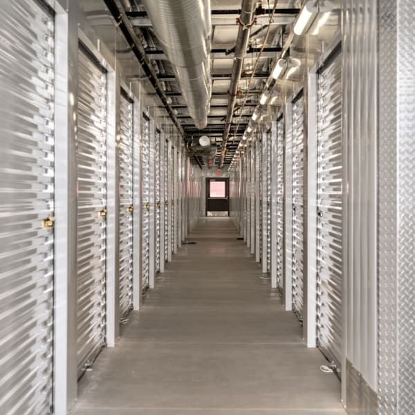 Indoor climate-controlled units at StorQuest Self Storage in Fresno, California