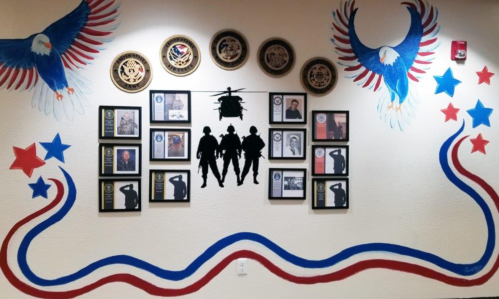 Veteran's Wall at Meadowlark Senior Living in Lebanon, Oregon