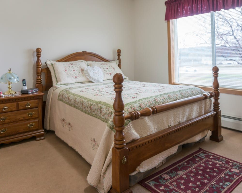 Cozy memory care studio at Meadow Lakes Senior Living in Rochester, Minnesota.