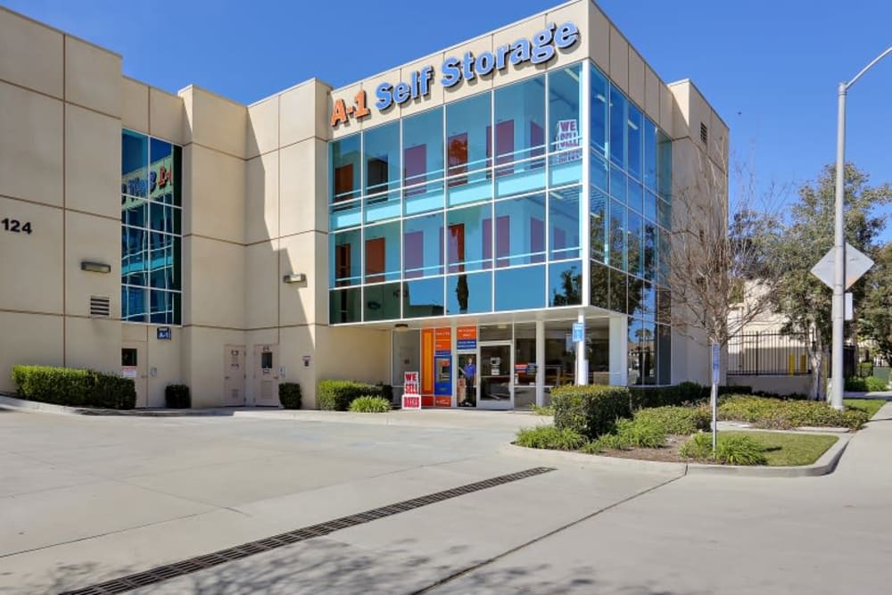 The front entrance to A-1 Self Storage in Vista, California