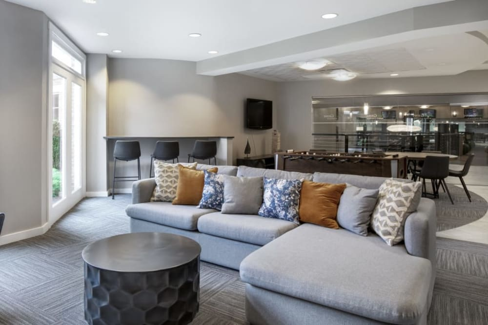 Comfy lounge with a foosball table at Sofi Parc Grove in Stamford, Connecticut