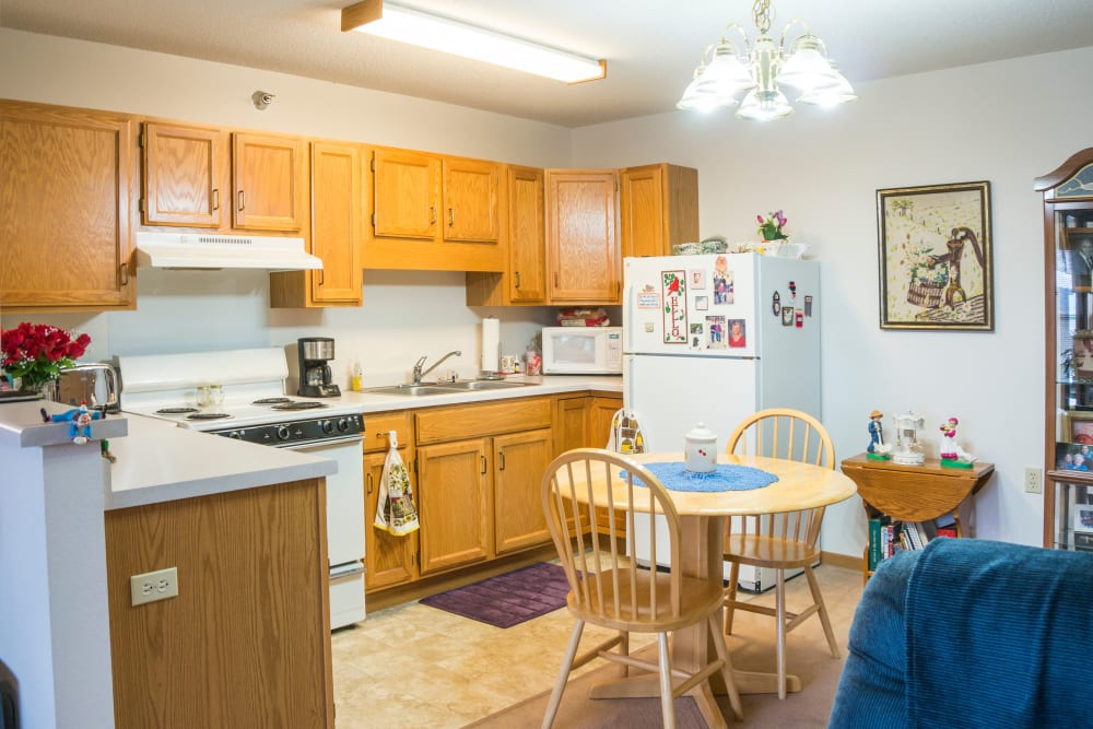 Full kitchen available in some units at Meadow Lakes Senior Living in Rochester, Minnesota.