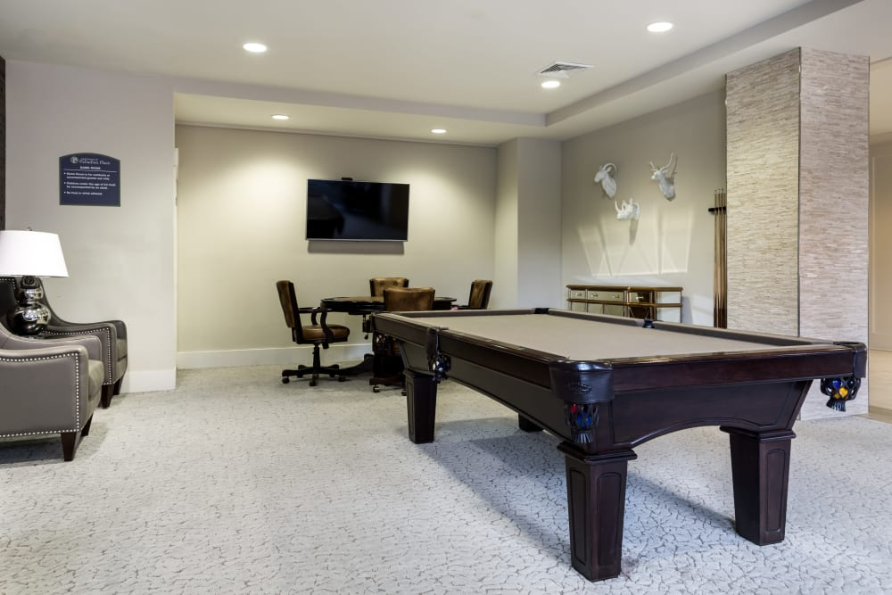 Rec Room with pool table at Carraway Village Apartments