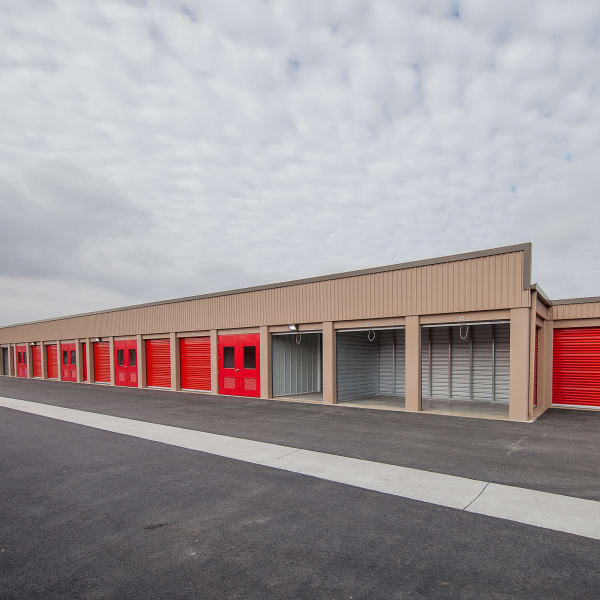 Open outdoor units at StorQuest Self Storage in Brentwood, California