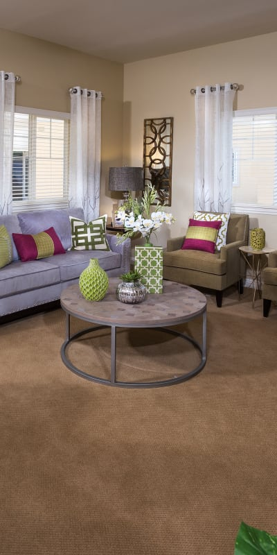 Cozy living room at Estancia Del Sol in Corona, California