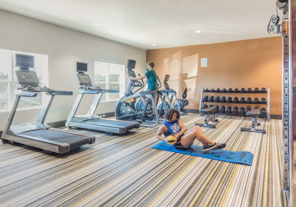 Fitness center for residents at evolve Tuscaloosa in Tuscaloosa, Alabama