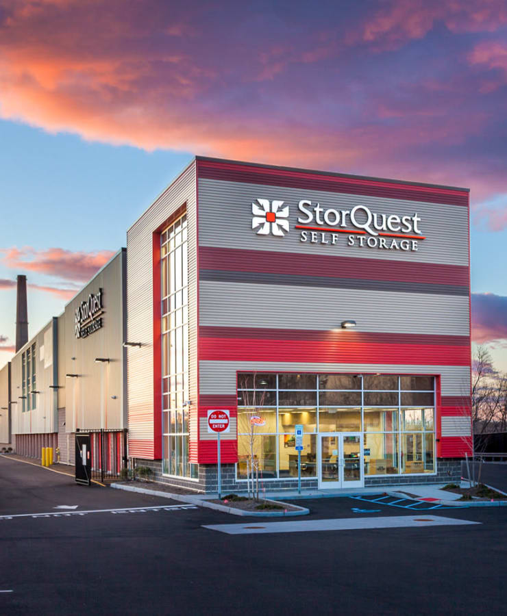 The exterior of the main entrance at StorQuest Self Storage in Jersey City, New Jersey