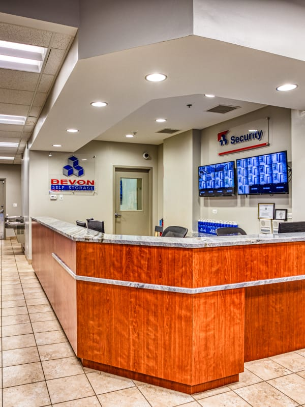 Front desk inside of the leasing office at Devon Self Storage in Chicago, Illinois