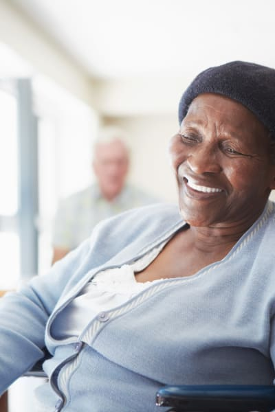 Resident talking to a caretaker at Retirement Center Management in Houston, Texas